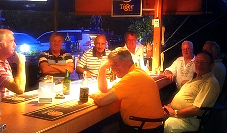 Some of the visiting 17 Irish lads relax at the Outback Golf Bar.
