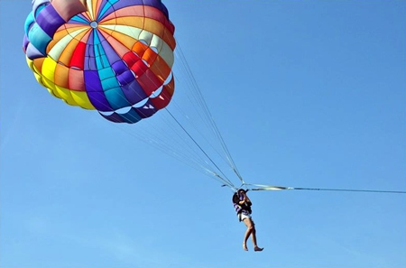 Parasailing was a new experience for many.
