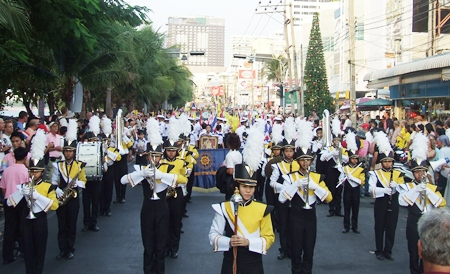 Pattaya School # 11 marching band keeps the beat for the marchers in the Beach Road parade.