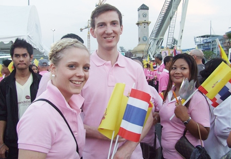 Foreign visitors participate in the momentous occasion.