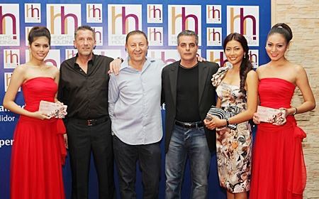 """Event organizer Cees Cuijpers, Nova CEO Rony Fineman and Tulip Group CEO Kobi Elbaz pose with stunning model Kamonrat 'Emmy"""" Ladseeta and two models from the EM Modeling company."""