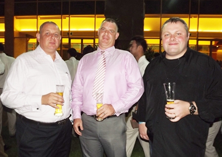 Resembling three off duty bouncers, loyal supporters of the Melissa Cosgrove Children's Foundation Garry Irvin, Joe Cox and Matt O'Sullivan come out to enjoy the evening.