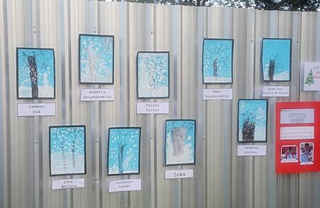 The children's Winter Wonderland art display wowed their parents.
