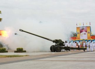 The Royal Thai Navy fires off its big gun salute in honor of HM the King.
