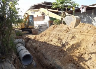 A new drainage system on sois 5, 7 and 9 in Naklua's Ton Krabok neighborhood will cost the city about 3 million baht each.
