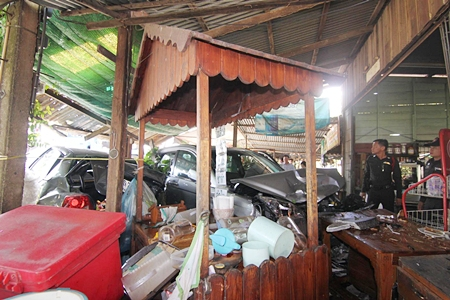 People eating lunch inside this restaurant were lucky to escape with their lives.
