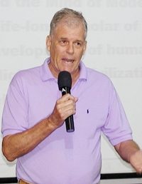 "Michael Flinn's message to the Pattaya City Expats Club is that ""Human consciousness is evolving, but still remains imponderable""."