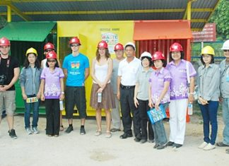 Thai and French International Rotary Club members tour the Thai Oil Tool Machinery Services Co.'s waste disposal plant.