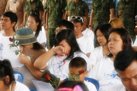 It's a tearful goodbye for many of the flood victims that were rescued and evacuated to live at the military base in Sattahip.