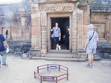 PCEC Member Judith Edmonds admiring the view from a Phanom Rung Castle doorway.