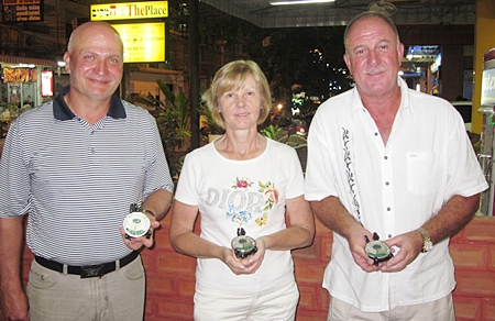 The December IPGC Medal winners: Theresa Connolly, Raivo Velsberg and Mike Lewis.