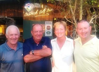 Phil Waite (arms folded) celebrates his hole in one at Khao Kheow with (from the left) Steve Plant, Suzi Lawton and Murray Hart.