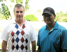 Mike & Joel back at Mulligans Lakeside after Thursday's round at Khao Kheow.