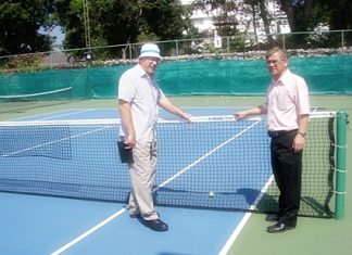 Geoffrey Rowe, Tournament Director of the PTT Pattaya Open, (left) inspects the tennis courts at the Dusit Thani Pattaya in preparation for the 2012 event being held from 5–12 February.