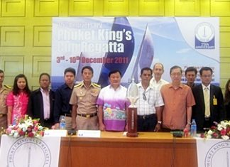 The King's Cup Regatta launch and press conference took place at Phuket's Provincial Hall on Thursday, November 17. Among those pictured in the photo are Santi Kanchanbandhu, member of the Organising Committee (5th left); Vice Admiral Taratorn Kajitsuwan, Commander Third Naval Area Command (6th left); Tri Augkaradacha, Governor of Phuket (7th left) and Sompong Dabhet, Deputy Mayor of Karon (8th left).