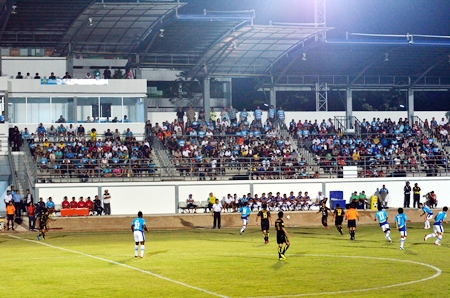 United fans watch the action from the club's new main stand at the Nongprue Stadium. (Photo/Martin Bilsborrow)