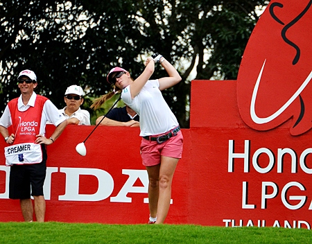 Paula Creamer tees off at Siam Country Club during the 2011 tournament. (Photo/Martin Bilsborrow)