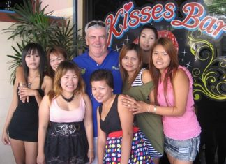 Russell celebrates his win outside Kisses Bar.