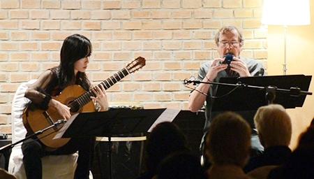 """Xuefei Yang (left) and Richard Harvey play the haunting """"Parting at Yuang Guan""""."""