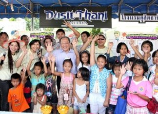 Dusit Thani Pattaya management, led by general manager Chatchawal Supachayanont (centre), joined other hotels and business establishments in front of Pattaya City Hall celebrating National Children's Day on January 14. Children, accompanied by their families, participated in fun games and activities and enjoyed some kiddie snacks provided by the five-star hotel. The resort staff and management also gave away school supplies and other presents to the children who spent the day winning prizes during fun contests at the resort's booth.