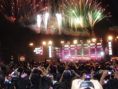 When the clock strikes midnight, fireworks blast off from Bali Hai pier.