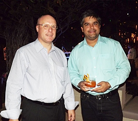 David Cummins (left), GM of the Amari Orchid, and Tony Malhotra, Deputy MD of Pattaya Mail pause for a photo.