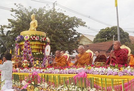 The most respected monks in the area take pride of place at the event.