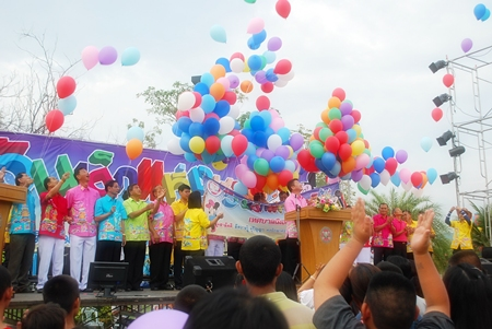 Balloons fill the air at Prince Chumporn Park on Children's Day in Sattahip.