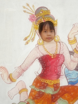 Look at me, I'm a Thai dancer at the Sanctuary of Truth.