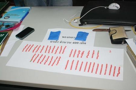 Cha-em Thongkrasan was caught with 400 methamphetamine pills.