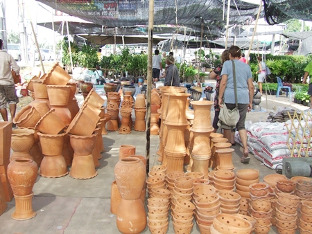 Hand made pottery is a big seller in the market.