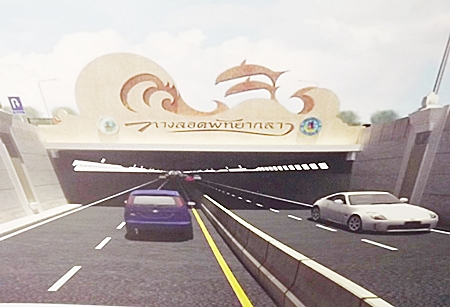 An artist's rendering of the proposed traffic tunnel under the intersection of Central and Sukhumvit roads.
