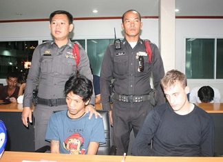 Saneh Puangthong (left) and Benjamin Cox (right) were among 9 arrested in Pattaya on drugs charges Dec. 23.