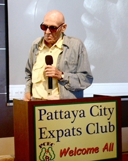 Pattaya resident Alfred Avallone shares with PCEC members and guests his career as a Hollywood actor during Hollywood's 'Golden Years'. On the screen is a scene from the 'Film Noir' movie, 'Experiment in Terror' starring Glenn Ford and Lee Remick. Lee played a woman, Kelly Sherwood, who is terrorized by a man with an asthmatic voice and plans to use her to steal $100,000 from the bank where she works. In a case of mistaken identity, Lee thought that Al was the blackmailer. Al's mistake was to fall for Lee's stunning looks as Kelly, being neither the first nor last male to do so.