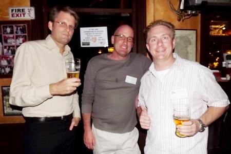 Olaf Duensing (DK Duensing Kippen), Jerrold Kippen (DK Duensing Kippen) and Michael Parham (CEA) having a jolly good time networking.