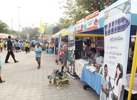 Exhibits cover local history and agricultural products from different schools in Pattaya.