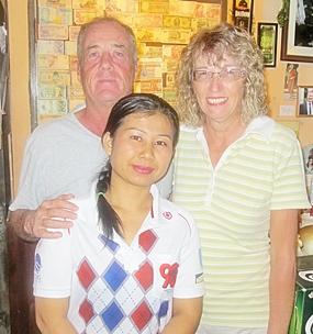 Tuesday's flight winners Alan Sullivan and Carole Kubicki with one of Bert's 'finest'.