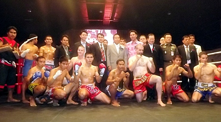 Muay Thai fighters pose with officials and dignitaries, including Pol. Gen. Boonlert Kaewprasert, President of International Boxing Association of Thailand, and Ithipol Kunplume, Mayor of Pattaya City, at the official opening of Pattaya Boxing World on December 23.