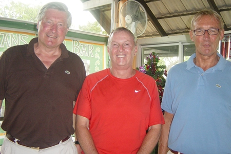 Thursday winner Willem (right) with Jim (center) and visitor from Holland, John.