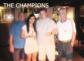 (Left-right) PSC Golf Chairman Joe Mooneyham, Ladies' Champion Yui Bietry, Men's Champion Mark McDonald, and PSC President Tony Oakes.
