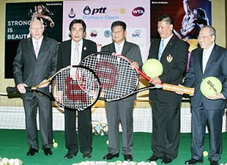 (Left to right) Geoffrey Rowe (Tournament Director); Ronakit Ekasingh (Deputy Mayor of Pattaya City); Sarun Rungkasiri (PTT Public Company Limited); Sakon Wannapong (Sports Authority of Thailand) and Chatchawal Supachayanont (General Manager Dusit Thani Pattaya) attend the press conference to announce the tournament, Friday, Jan. 6 in Bangkok.