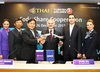 Presenting during the code share signing ceremony at Thai Airways International office in Bangkok are Dr Temel Kotil (4th from right), Turkish Airlines CEO and Piyasvasti Amranand (4th from left), THAI president. Also witnessing the ceremony are Ufuk Ugur (3rd from right), Turkish Airlines senior president for Asia & Far East, and Pandit Chanapai (3rd from left), THAI executive vice president for Commercial and staff of the two airlines.