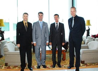 Royal Cliff Hotels Group welcomed H.E. Dr. Johannes Peterlik (2nd left), Ambassador of Austria to Thailand and Rudolf Hofer (2nd left), Honorary Consul of the Austrian Embassy in Pattaya on their visit to the resort recently. On hand to welcome them were Royal Cliff General Manager Joachim Grill and Royal Wing Suites & Spa General Manager Klaus Bodo Hund (right).