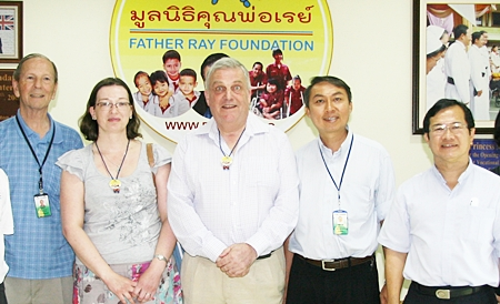 The Father Ray Foundation recently welcomed visitors from the Thai Children's Trust who were making their annual visit to Thailand. The London based Trust is the UK's largest charitable organisation supporting projects in Thailand. Andrew Scadding (center), CEO and Adele Kierens (second left), fundraiser at the Trust were welcomed by Brother Denis Gervais (left), Father Peter (second right) and Father Michael Picharn (right) of the Father Ray Foundation.