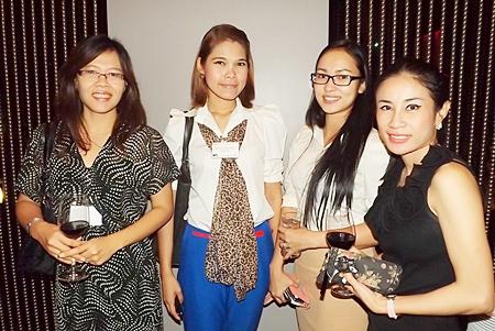 Pattra, Kavissara Rojanavooti, corporate services manager of Santa Fe (Thailand) Co., Ltd.; Suteeraporn Nutchanart, sales executive for Holiday Inn Pattaya; and Vassachol Khrueasan, sales manager of Holiday Inn Pattaya.