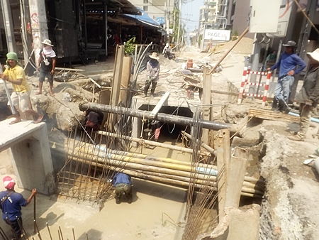The Soi 10 construction project, promised to be completed last November, still obviously has a long way to go.
