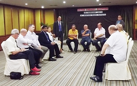 A handful of British ex-pats domiciled in Pattaya meet with H.E. Asif Ahmad, the British ambassador to Thailand and British Consul Michael Hancock.