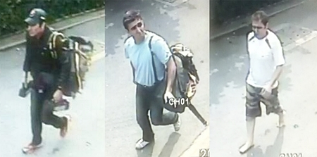 In this combination of images made from surveillance video on Tuesday, Feb. 14, 2012, three Iranian bomb suspects, identified by police from left, as Saeid Moradi, Mohammad Kharzei and Masoud Sedaghatzadeh, walk down the middle of a residential street in Bangkok after the first blast at an explosives-filled house where the three were staying. (AP Photo/Spokesman Office of National Thai Police)