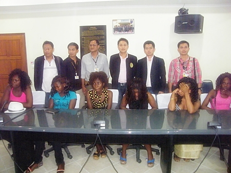 Six of the seven Ugandan women police accused of working as prostitutes in Pattaya.