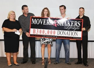 A cash amount of baht 300,000 was given to the Lighthouse Club by Cees Cuijpers (2nd left), organizer of Movers & Shakers. Also shown (left to right) are Tracy Cosgrove, (Cees Cuijpers), Irina Breslavtseva, marketing manager for Heights Holdings, Stuart Maxwell Foulkes, LHC treasurer and Neo Lothongkum, LHC PR & Media.